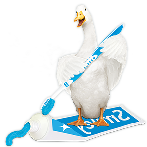 Aflac duck putting toothpaste on toothbrush