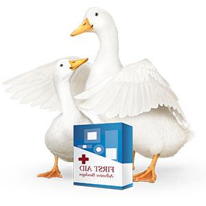 Aflac duck with first-aid bandage